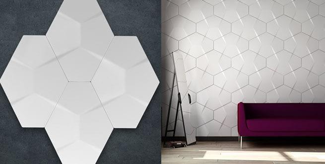 Decoración con azulejos en 3d color blanco